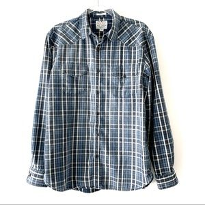 Lucky Brand Blue Classic Fit Flannel Shirt Size L